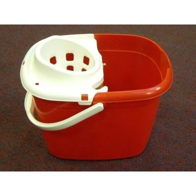 Plastic Mop Bucket 12ltr Red with Wringer